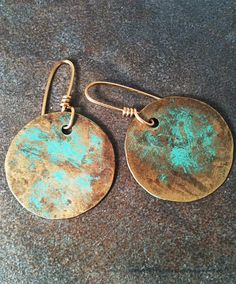 Brass Earrings with Green Patina by YMBlueOriginals on Etsy, $26.00