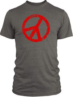 Big Texas Cracked Peace Sign (Red) Vintage Tri-Blend T-Shirt