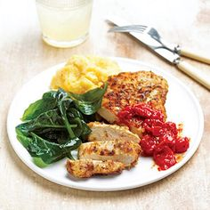 Pan-Fried Chicken with Tomato Jam When time is short, turn to this tasty main dish recipe of buttermilk fried chicken, tomato jam, polenta, and spinach that can be prepared in less than 30 minutes.