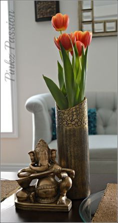 awesome Indian home décor, Ganesha décor, tulips, Brass collectibles, Ganesha...
