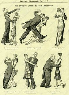 Guide To The Ballroom, Vintage Dancing Cartoon from Punch, 1920s