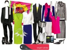 Collage by True Colour International. Bright Spring, Bright Winter Outfits, Winter Colors, Clear Winter, Deep Winter, Clear Spring, Winter Typ, Seasonal Color Analysis, Saturated Color
