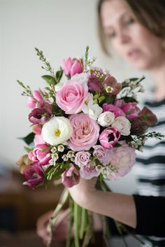 pink bridal bouquets A hand-tied posy with a 'just-picked' look, in the prettiest shades of pinks - the perfect bouquet for a bride on a budget! Bridal Bouquet Pink, Summer Wedding Bouquets, Bride Bouquets, Bridal Flowers, Flower Bouquet Wedding, Bridesmaid Bouquet, Spring Wedding, Floral Wedding, Bridesmaids