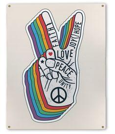 Peace & Love Metal Sign