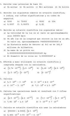 Ejercicios notación científica