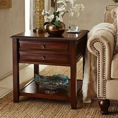 Anywhere Large Tuscan Brown End Table with Pull Handles