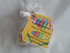 Unique Personalized Crayon Theme Birthday or Baby Shower Tags by PARTYGAMESANDMORE
