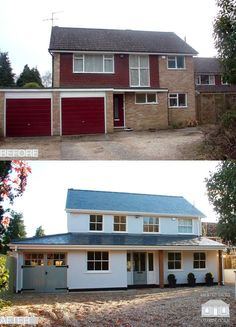 Back to Front Exterior Design - Before and After Remodelling scheme in Su. - Back to Front Exterior Design – Before and After Remodelling scheme in Surrey - Home Exterior Makeover, Exterior Remodel, Garage Exterior, Stucco Exterior, Exterior Homes, Cottage Exterior, Renovation Facade, 1970s House Renovation, Exterior Design