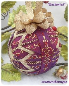 Purple Christmas Ornament Quilted eggplant by OrnamentBoutique, $20.00 Love the elegant swirly pattern.