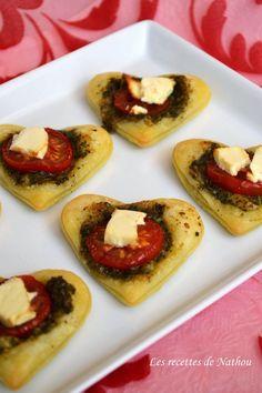 Les recettes de Nathou: Coeurs feuilletés au pesto, tomate et feta