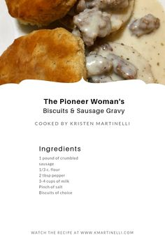 The Pioneer Woman& Biscuits and Sausage Gravy — Kristen Martinelli - New recipes to try - The Pioneer Woman, Pioneer Women, Pioneer Woman Recipes, Breakfast Sausage Recipes, Breakfast Dishes, Brunch Recipes, Country Breakfast, Breakfast Gravy Recipe Easy, Breakfast Ideas