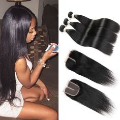 7A Brazilian Lace Closure With Bundles Straight Hair Brazilian Hair Weave 3 Bundles With Closure My diva Unprocessed Human Hair