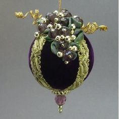 Handmade Victorian Inspired Plum Purple Velvet Christmas Ball Wine Theme Ornament with Glass Bead Grapes