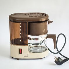 """Retro West German Coffee Maker   This is our first ever coffee maker featured on Crosby & Smalls! It's retro 6-cup espresso machine by West German company """"wKm"""", has all it's working parts and makes a delicious cup of coffee. I was a little skeptical... Drip Coffee Maker, Coffee Cups, Espresso Cups, Vintage Tea, Espresso Machine, Kitchenware, Pots, German, Retro"""