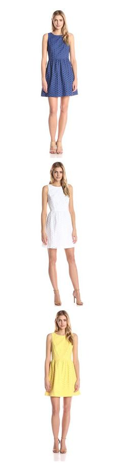 KENSIE WOMEN'S DAISY DOT EYELET DRESS-------- Colors Available: Canary Yellow,Midnight Sapphire Blue and White-------- 100% Cotton-------- Imported-------- Hand Wash-------- Sleeveless-------- Ideal for casual and party wear during summer/spring.-------- Zipper closure-------- Eyelet design--------