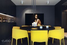 Yellow chairs...when done like this, yes!   B-B APARTMENT by Katarzyna Kuo Stolarska, via Behance