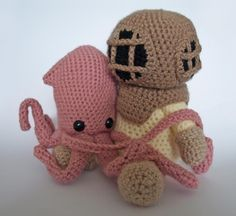 Would also make a charming wedding cake topper...depending on how much you love cute pink squids. (Deep Sea Diver AND Squid  Crochet Patterns by MrFox on Etsy, $7.50)