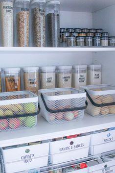 Deep Pantry Organization, Kitchen Organisation, Organization Hacks, Organizing Ideas, Pantry Ideas, Refrigerator Organization, Pantry Storage Containers, Kitchen Containers, Container Organization