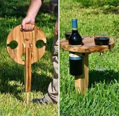We posted something like this months ago, but this wooden wine bottle/glass hold. We posted something like this months ago, but this wooden wine bottle/glass holder is much sturdier and it looks lik Wine Glass Holder, Wine Bottle Holders, Drink Holder, Wooden Wine Holder, Wood Projects, Woodworking Projects, Projects To Try, Teds Woodworking, Wood Crafts