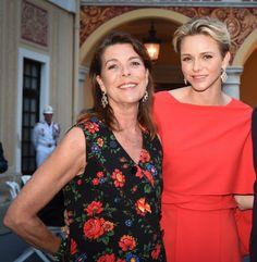 Princess Caroline of Monaco with her sister-in-law Princess Charlene of Monaco