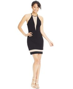 City Studios Juniors' Contrast Illusion Bodycon Dress