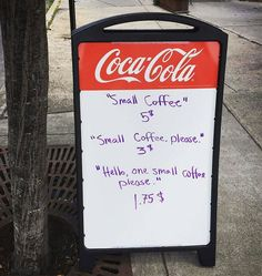 Coffee shop owner gets sick of rude customers – puts up genius sign to teach them some manners Street Marketing, Marketing Tools, Marketing Ideas, Digital Marketing, Funny Signs, Funny Jokes, Hilarious Sayings, Hilarious Animals, Funny Blogs