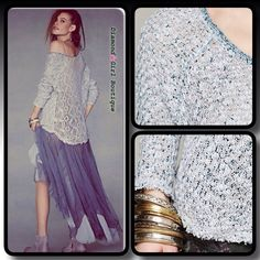 Free People Lace- Back Sweater Marled blue knit oversized pullover features a beautiful sheer cotton lace back, scooped distressed hem, 100% cotton Free People Sweaters Crew & Scoop Necks