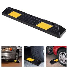Rubber Parking Block Curb 48in Lot Drive Way Tire Wheel Stop Reflective Stripe
