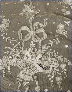 LACE BASKET - sewing on lace netting!