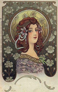 Art Nouveau illustration, Raphael Tuck postcard, Mistakenly attributed to Alphonse Mucha Art Nouveau Mucha, Alphonse Mucha Art, Art Nouveau Poster, Diy Art, Art Nouveau Illustration, Kunst Poster, Poster Art, Print Poster, Art Print
