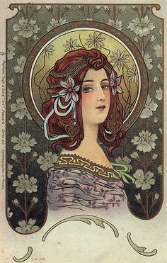Art Nouveau illustration, 1902. Attributed to Alphonse Mucha, the comments under the image call this into question...