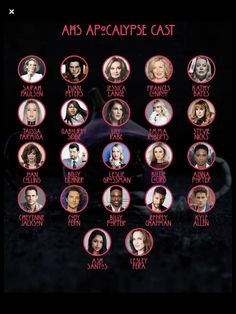 AHS American Horror Story Season 8 Apocalypse list of characters for the new season. Poster. #ahs #americanhorrorstory #apocalypse #sarahpaulson #evanpeters