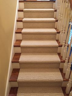 Geometic printed nylon carpet installed for a client in Newport Beach, CA. The carpet comes off a roll and can be installed wall to wall, fabricated for stair runners or made into area rugs. Purchase at Hemphill's Rugs & Carpets Orange County, CA www.RugsAndCarpets.com
