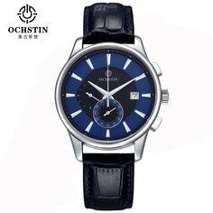 59.99$  Watch now - http://aliois.worldwells.pw/go.php?t=32787125050 - OCHSTIN Quartz Watches Men Luxury Brand Genuine Leather Waterproof Chronograph Sport Wrist Watch Men Clock Horloge