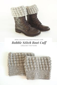 FREE CROCHET PATTERN: Bobble Stitch Boot Cuff The bobble stitch boot cuffs are warm and so customizable. You can dress up any boots with this simple and fun project. They'd make great gifts too. CLICK THE PATTERN NOW! Crochet Boots, Cute Crochet, Crochet Lace, Crochet Flowers, Crochet Headbands, Knit Headband, Irish Crochet, Baby Headbands, Simple Crochet