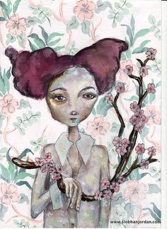 pink flowers red hair Floral Girly Art Print A by SiobhanJordan, Hologram, Painting & Drawing, Red Hair, Pink Flowers, Girly, Romantic, Art Prints, Gallery, Drawings