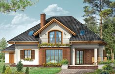 Zdjęcie projektu Filip – el D - Free Building Facade, Building A House, Style At Home, Future House, My House, Construction Cost, Village Houses, Simple House, Modern House Design