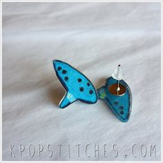Ocarina Zelda hand drawn plastic post earrings Legend of Zelda Ocarina of Time triforce by KpopStitches on Etsy