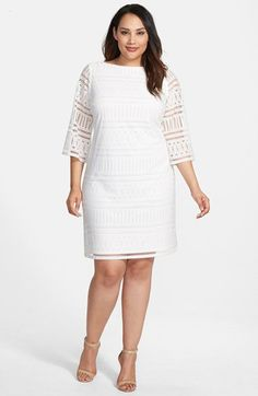 London Times Eyelet Knit Shift Dress (Plus Size) | Nordstrom
