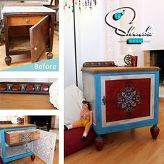 Before & After... upcycled restorations by #lashendadeco #renovation #restoration #upcycled #onceloved #boho #design #mandala #recycledfurniture #gipsystyle #bohemian #bohemianstyle #colours #hippie #handcrafted #interiordesign #decor #patchwork #paisley #interiorismo #mueblesrecuperados #decoraccion #vintage #madeinspain #furnitureart
