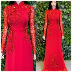 Ao Dai Vietnam, Kebaya, One Shoulder, Wedding Ideas, Bride, Formal Dresses, Clothes, Fashion, Red