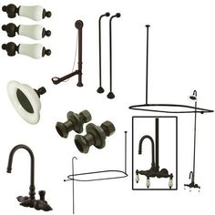 Kingston Brass Vintage Wall Mount High Rise Clawfoot Tub and Shower Package with Porcelain Lever Handles, Oil Rubbed Bronze