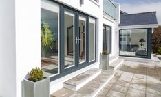 Chartwell Green uPVC French Doors with Narrow Side Panels Upvc French Doors, French Doors Patio, Patio Doors, Bungalow Extensions, Garden Room Extensions, Door Design, House Design, Grey Windows, Upvc Windows