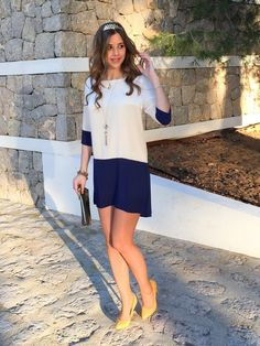 White Apricot Navy Color Block Dress – Lyfie