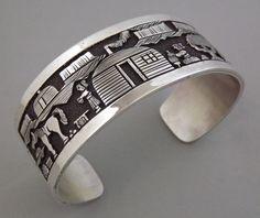 Navajo BENNY BENALLY Sterling Silver STORYTELLER Overlay Wide Cuff Bracelet