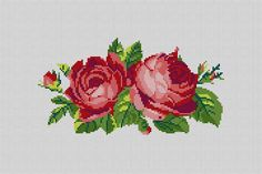 This Pin was discovered by Ren Cross Stitch Love, Cross Stitch Flowers, Cross Stitch Charts, Cross Stitch Designs, Cross Stitch Embroidery, Hand Embroidery, Cross Stitch Patterns, Pixel Crochet, Vintage Flowers