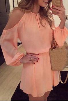 Endearing Solid Color Shoulder Hollow Out Back Slit Dress For Women Summer Dresses | RoseGal.com Mobile
