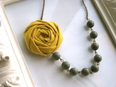 Yellow and gray fabric flower necklace by HappyLittleLovelies, $26.00