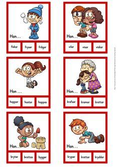 Verb i presens - 30 nypkort Learn Swedish, Swedish Language, Free Teaching Resources, Teaching Materials, Future Classroom, Classroom Ideas, Speech And Language, Literacy, Preschool