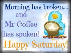 Morning Has Broken Coffee Has Spoken Happy Saturday                                                                                                                                                                                 More